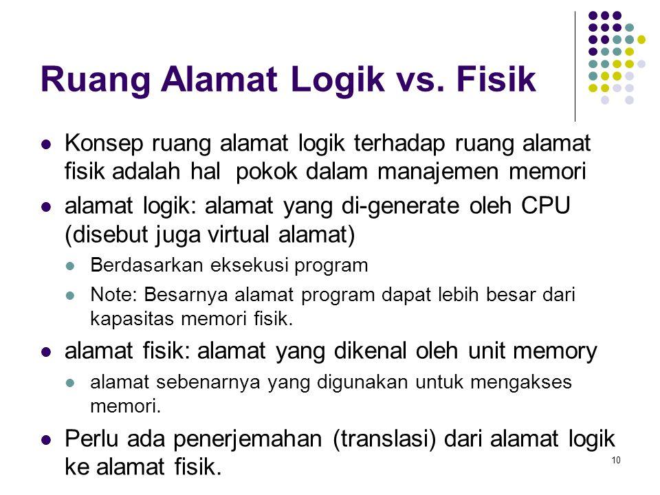 10 Ruang Alamat Logik vs. Fisik Konsep ruang alamat logik terhadap ruang alamat fisik adalah hal pokok dalam manajemen memori alamat logik: alamat yan