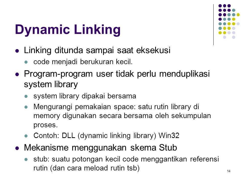 14 Dynamic Linking Linking ditunda sampai saat eksekusi code menjadi berukuran kecil. Program-program user tidak perlu menduplikasi system library sys