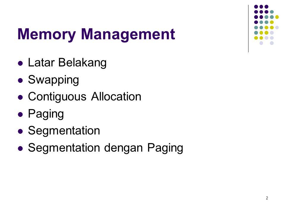 2 Memory Management Latar Belakang Swapping Contiguous Allocation Paging Segmentation Segmentation dengan Paging
