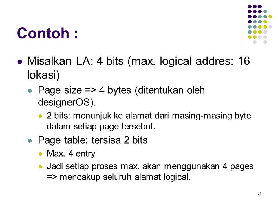 34 Contoh : Misalkan LA: 4 bits (max. logical addres: 16 lokasi) Page size => 4 bytes (ditentukan oleh designerOS). 2 bits: menunjuk ke alamat dari ma