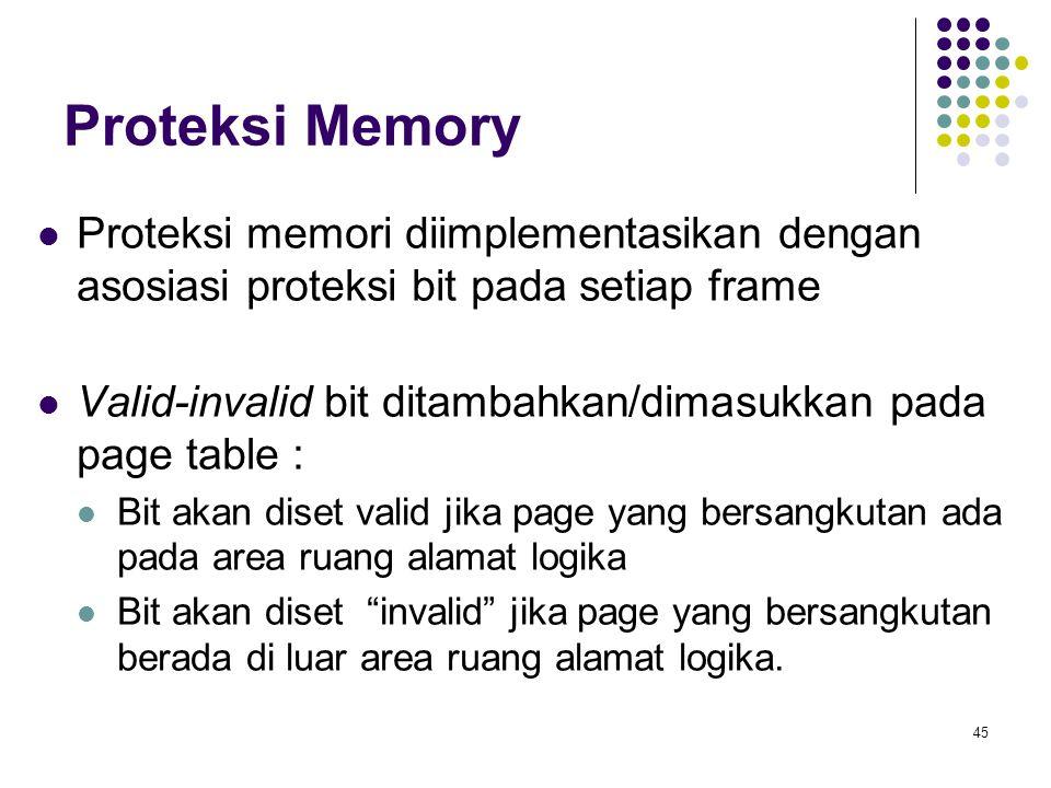 45 Proteksi Memory Proteksi memori diimplementasikan dengan asosiasi proteksi bit pada setiap frame Valid-invalid bit ditambahkan/dimasukkan pada page