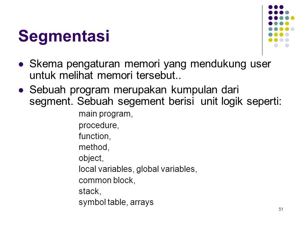 51 Segmentasi Skema pengaturan memori yang mendukung user untuk melihat memori tersebut.. Sebuah program merupakan kumpulan dari segment. Sebuah segem
