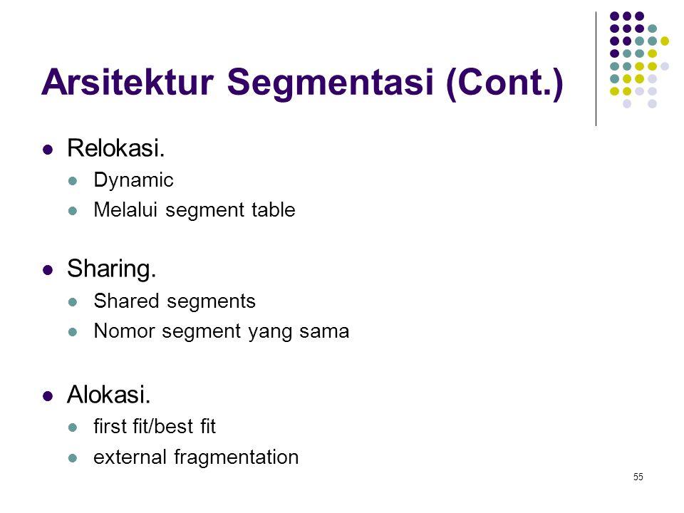 55 Arsitektur Segmentasi (Cont.) Relokasi. Dynamic Melalui segment table Sharing. Shared segments Nomor segment yang sama Alokasi. first fit/best fit