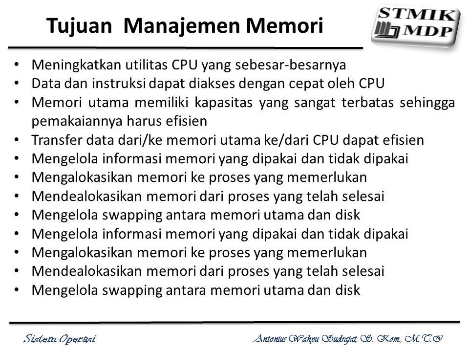 Sistem Operasi Antonius Wahyu Sudrajat, S. Kom., M.T.I Tujuan Manajemen Memori Meningkatkan utilitas CPU yang sebesar-besarnya Data dan instruksi dapa