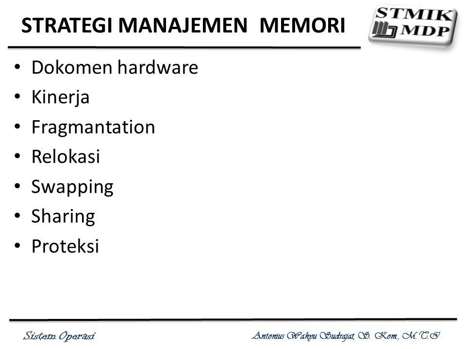 Sistem Operasi Antonius Wahyu Sudrajat, S. Kom., M.T.I STRATEGI MANAJEMEN MEMORI Dokomen hardware Kinerja Fragmantation Relokasi Swapping Sharing Prot