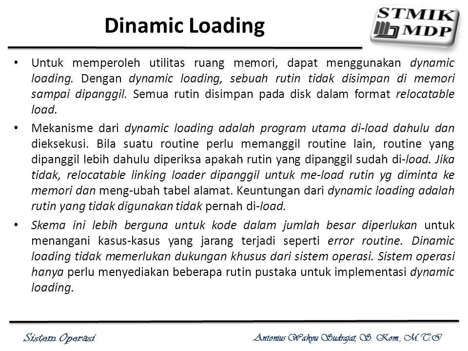 Sistem Operasi Antonius Wahyu Sudrajat, S. Kom., M.T.I Dinamic Loading Untuk memperoleh utilitas ruang memori, dapat menggunakan dynamic loading. Deng