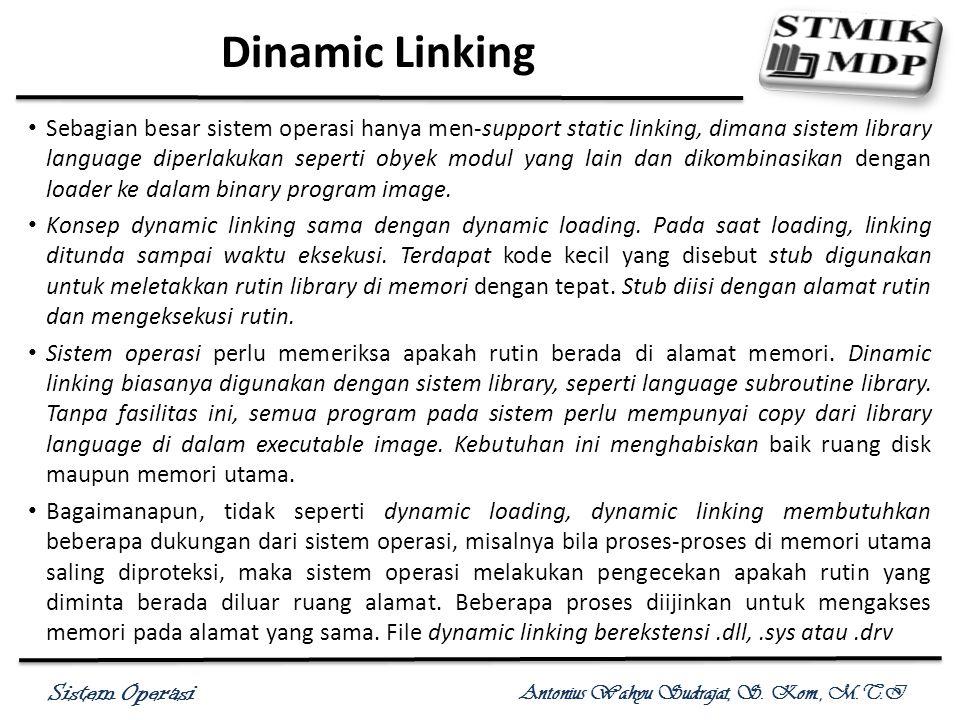 Sistem Operasi Antonius Wahyu Sudrajat, S. Kom., M.T.I Dinamic Linking Sebagian besar sistem operasi hanya men-support static linking, dimana sistem l