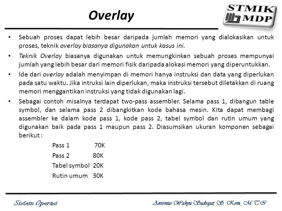 Sistem Operasi Antonius Wahyu Sudrajat, S. Kom., M.T.I Overlay Sebuah proses dapat lebih besar daripada jumlah memori yang dialokasikan untuk proses,