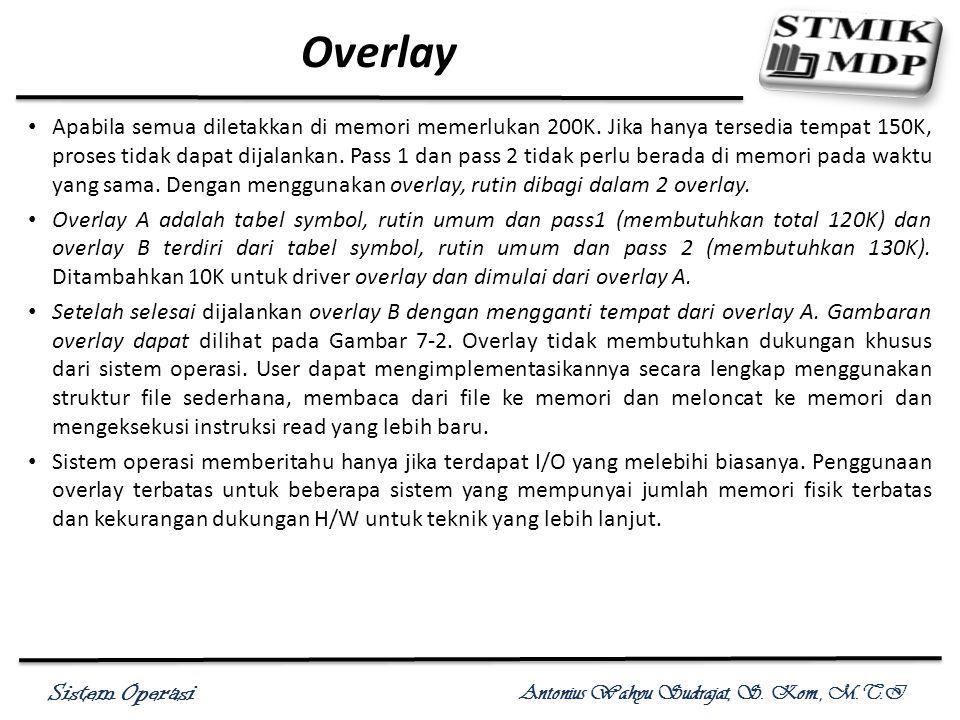 Sistem Operasi Antonius Wahyu Sudrajat, S. Kom., M.T.I Overlay Apabila semua diletakkan di memori memerlukan 200K. Jika hanya tersedia tempat 150K, pr