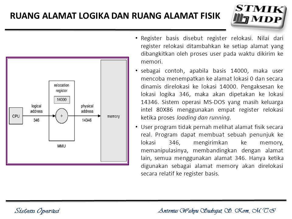 Sistem Operasi Antonius Wahyu Sudrajat, S. Kom., M.T.I RUANG ALAMAT LOGIKA DAN RUANG ALAMAT FISIK Register basis disebut register relokasi. Nilai dari