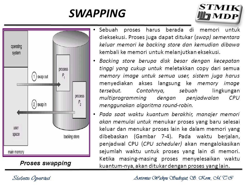Sistem Operasi Antonius Wahyu Sudrajat, S. Kom., M.T.I SWAPPING Sebuah proses harus berada di memori untuk dieksekusi. Proses juga dapat ditukar (swap