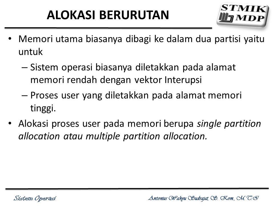 Sistem Operasi Antonius Wahyu Sudrajat, S. Kom., M.T.I ALOKASI BERURUTAN Memori utama biasanya dibagi ke dalam dua partisi yaitu untuk – Sistem operas