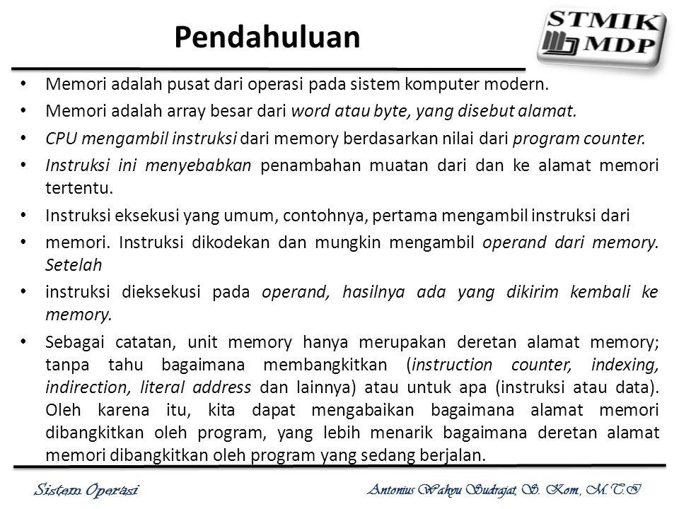 Sistem Operasi Antonius Wahyu Sudrajat, S. Kom., M.T.I Pendahuluan Memori adalah pusat dari operasi pada sistem komputer modern. Memori adalah array b