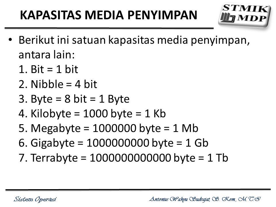Sistem Operasi Antonius Wahyu Sudrajat, S. Kom., M.T.I KAPASITAS MEDIA PENYIMPAN Berikut ini satuan kapasitas media penyimpan, antara lain: 1. Bit = 1