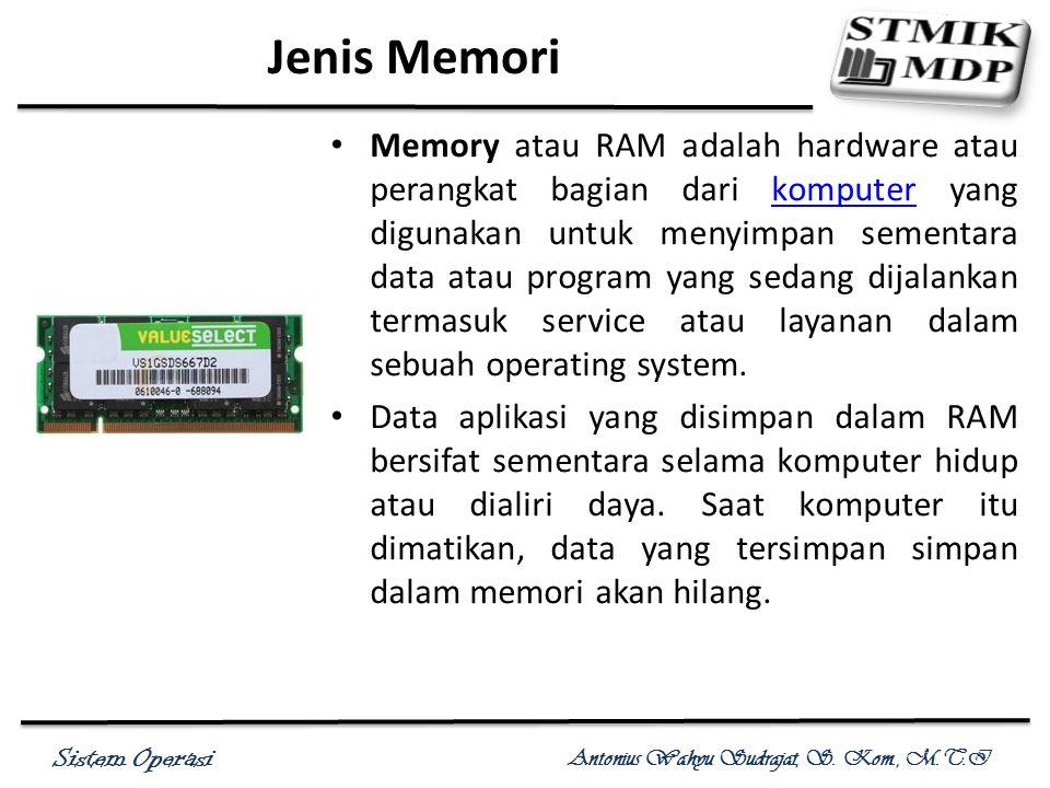 Sistem Operasi Antonius Wahyu Sudrajat, S. Kom., M.T.I Jenis Memori Memory atau RAM adalah hardware atau perangkat bagian dari komputer yang digunakan