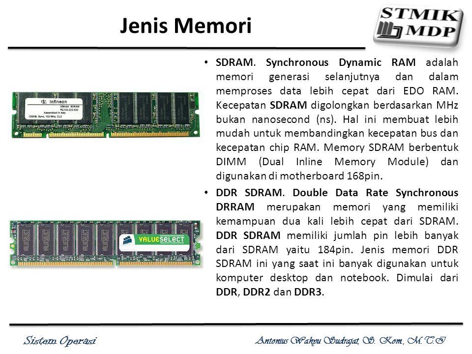 Sistem Operasi Antonius Wahyu Sudrajat, S. Kom., M.T.I Jenis Memori SDRAM. Synchronous Dynamic RAM adalah memori generasi selanjutnya dan dalam mempro
