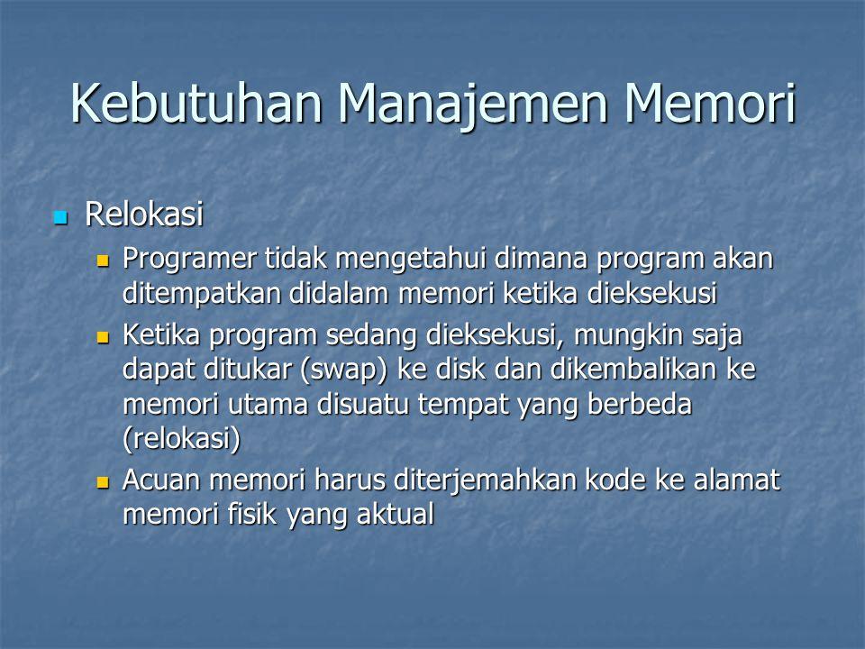Kebutuhan Manajemen Memori Relokasi Relokasi Programer tidak mengetahui dimana program akan ditempatkan didalam memori ketika dieksekusi Programer tid