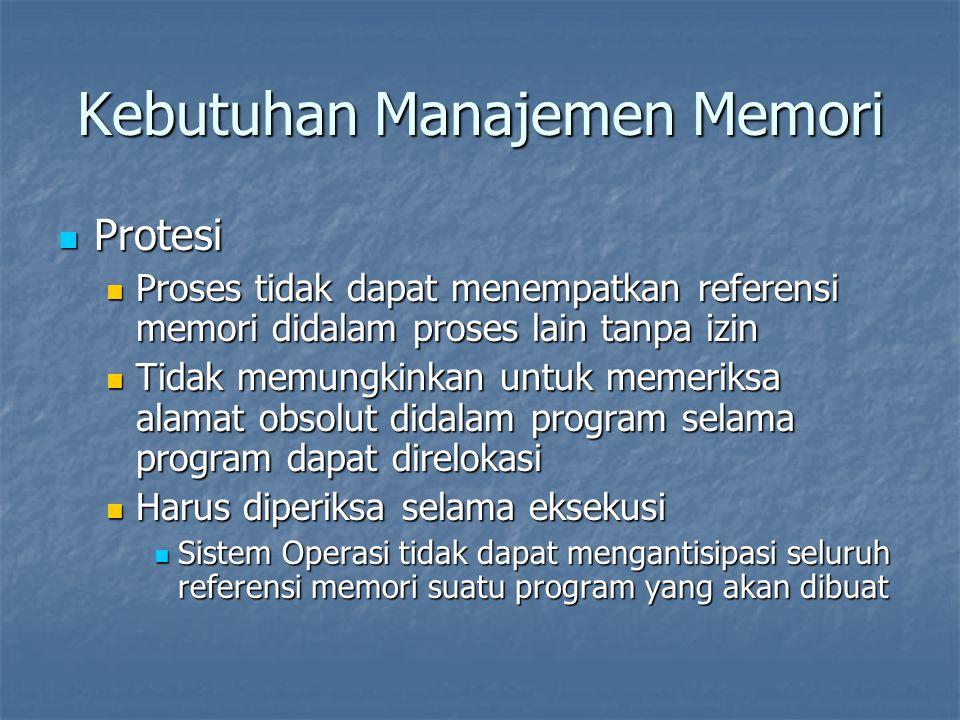 Kebutuhan Manajemen Memori Protesi Protesi Proses tidak dapat menempatkan referensi memori didalam proses lain tanpa izin Proses tidak dapat menempatk