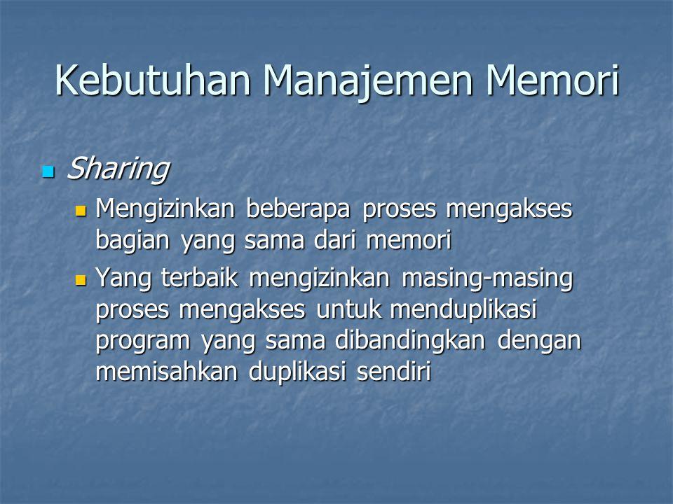 Kebutuhan Manajemen Memori Sharing Sharing Mengizinkan beberapa proses mengakses bagian yang sama dari memori Mengizinkan beberapa proses mengakses ba