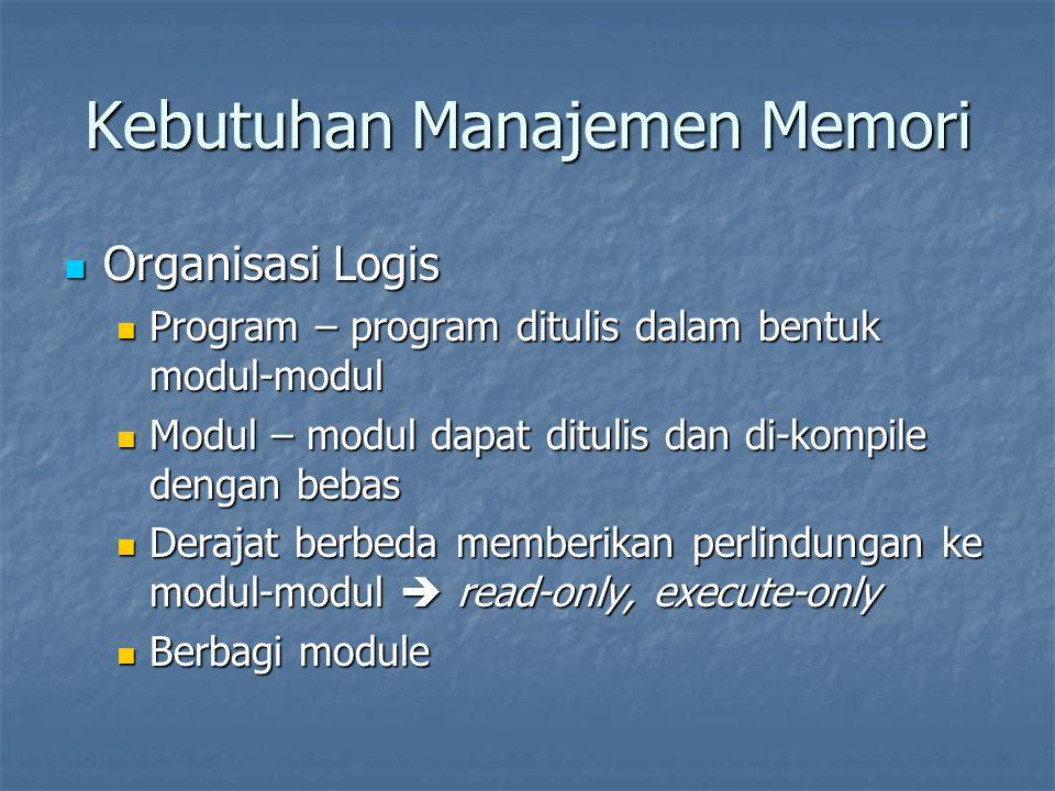 Kebutuhan Manajemen Memori Organisasi Logis Organisasi Logis Program – program ditulis dalam bentuk modul-modul Program – program ditulis dalam bentuk