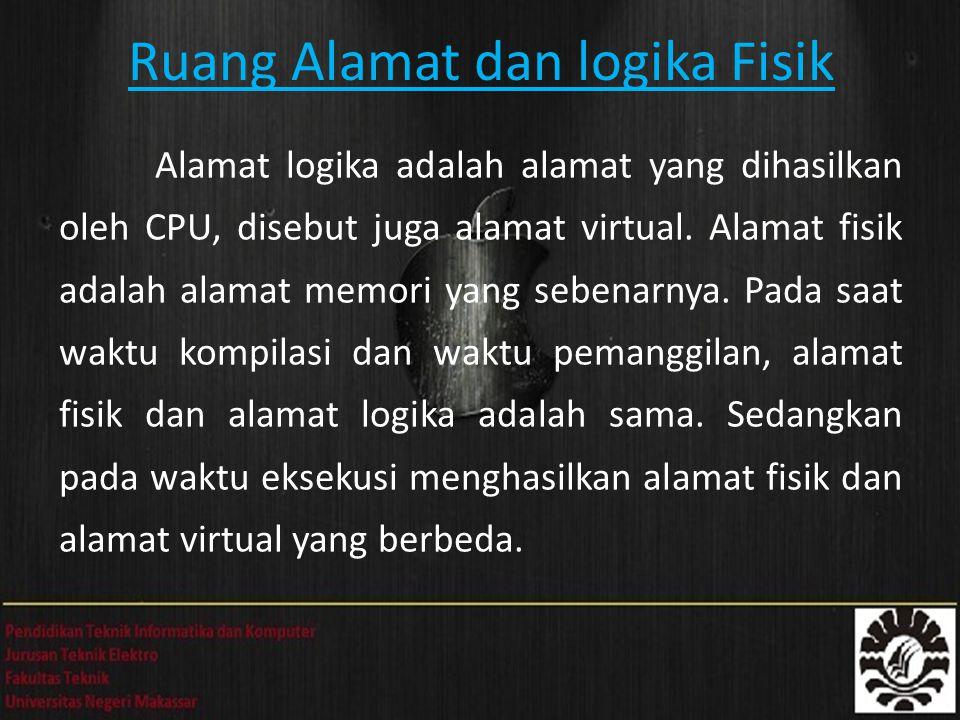 Ruang Alamat dan logika Fisik Alamat logika adalah alamat yang dihasilkan oleh CPU, disebut juga alamat virtual. Alamat fisik adalah alamat memori yan