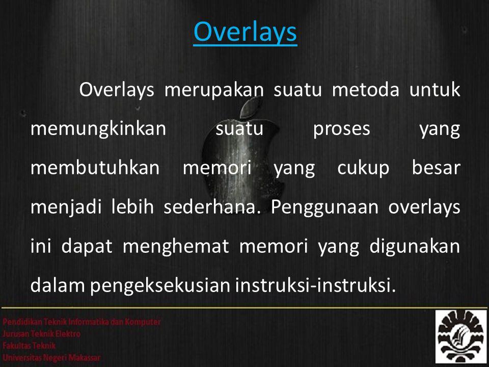 Overlays Overlays merupakan suatu metoda untuk memungkinkan suatu proses yang membutuhkan memori yang cukup besar menjadi lebih sederhana. Penggunaan