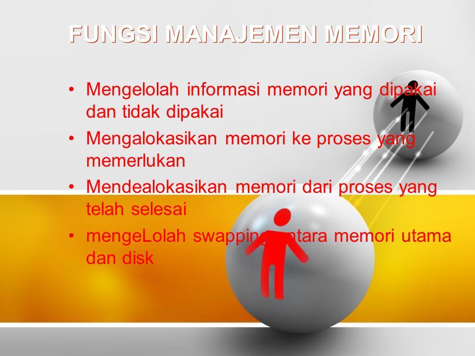 FUNGSI MANAJEMEN MEMORI Mengelolah informasi memori yang dipakai dan tidak dipakai Mengalokasikan memori ke proses yang memerlukan Mendealokasikan memori dari proses yang telah selesai mengeLolah swapping antara memori utama dan disk