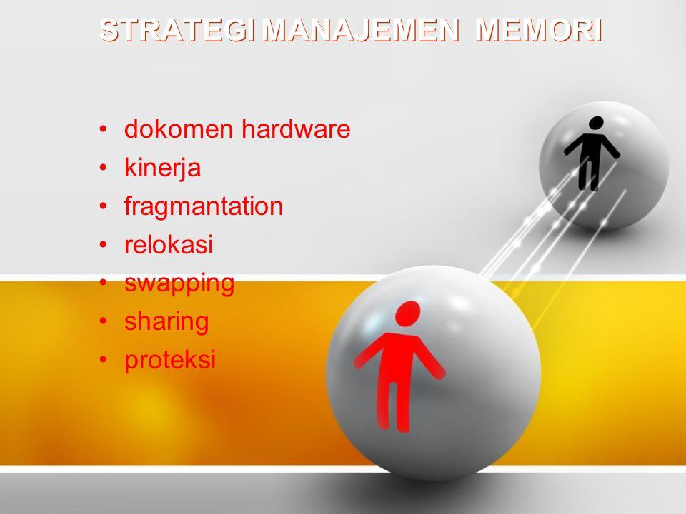 STRATEGI MANAJEMEN MEMORI dokomen hardware kinerja fragmantation relokasi swapping sharing proteksi