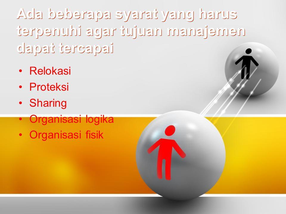 Ada beberapa syarat yang harus terpenuhi agar tujuan manajemen dapat tercapai Relokasi Proteksi Sharing Organisasi logika Organisasi fisik