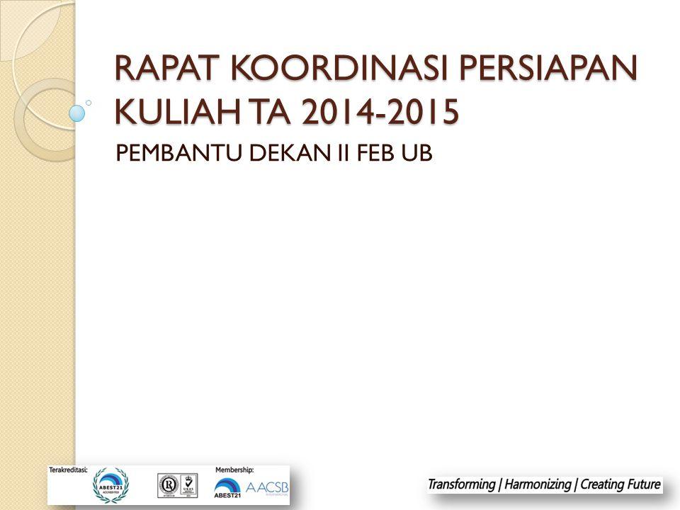 RAPAT KOORDINASI PERSIAPAN KULIAH TA 2014-2015 PEMBANTU DEKAN II FEB UB
