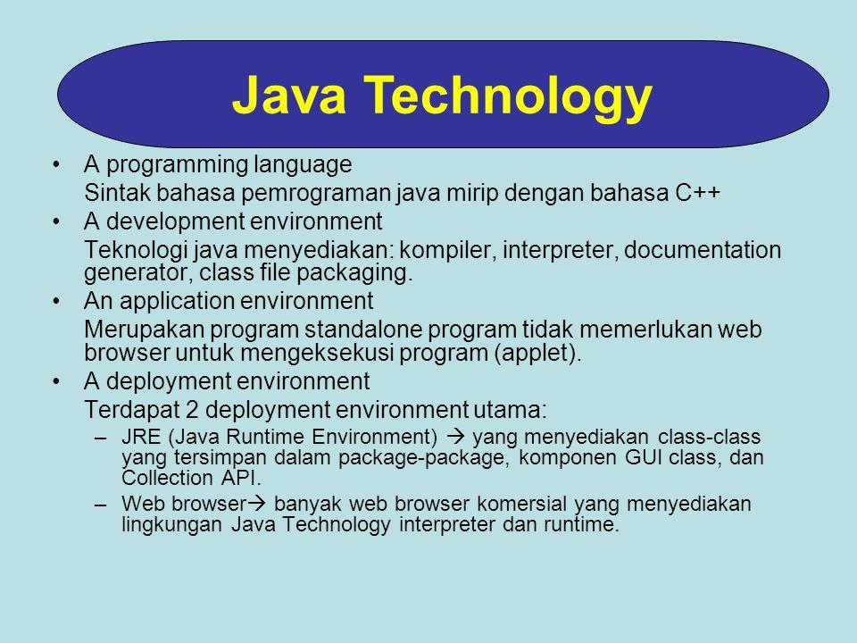 A programming language Sintak bahasa pemrograman java mirip dengan bahasa C++ A development environment Teknologi java menyediakan: kompiler, interpreter, documentation generator, class file packaging.