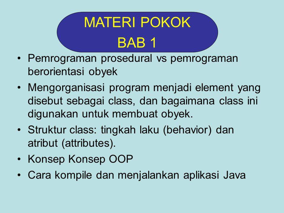 Pemrograman prosedural vs pemrograman berorientasi obyek Mengorganisasi program menjadi element yang disebut sebagai class, dan bagaimana class ini digunakan untuk membuat obyek.