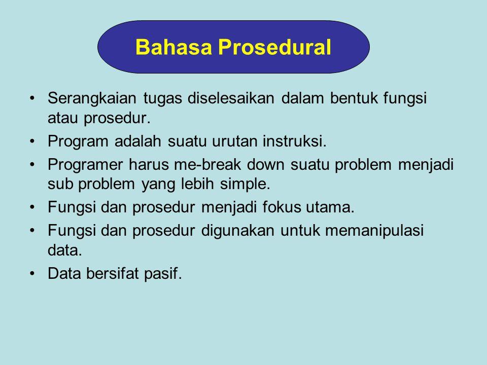 Serangkaian tugas diselesaikan dalam bentuk fungsi atau prosedur.