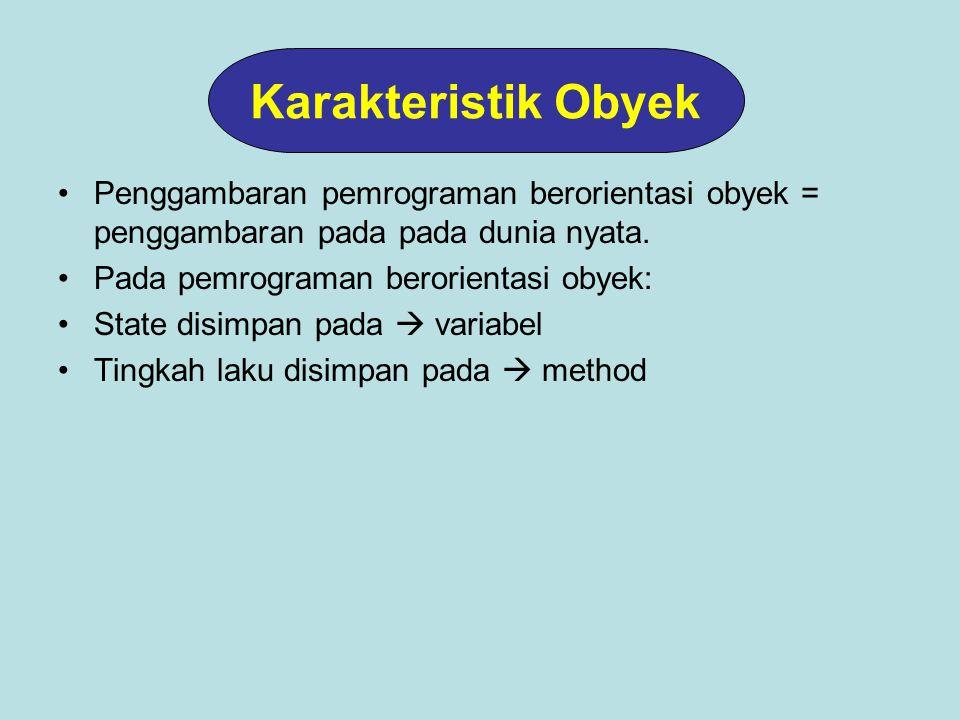 Prinsip: Persamaan- persamaan yang dimiliki oleh beberapa kelas dapat digabungkan dalam sebuah class induk sehingga setiap kelas yang diturunkannya memuat hal-hal yang spesifik untuk kelas yang bersangkutan Pewarisan (Inheritance) Sepeda Sepeda Gunung Sepeda Balap Sepeda Motor