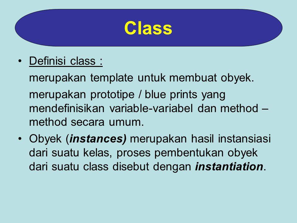 Definisi class : merupakan template untuk membuat obyek.