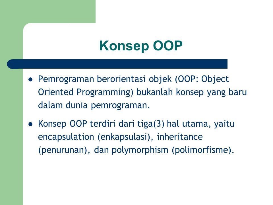 Konsep OOP Pemrograman berorientasi objek (OOP: Object Oriented Programming) bukanlah konsep yang baru dalam dunia pemrograman. Konsep OOP terdiri dar