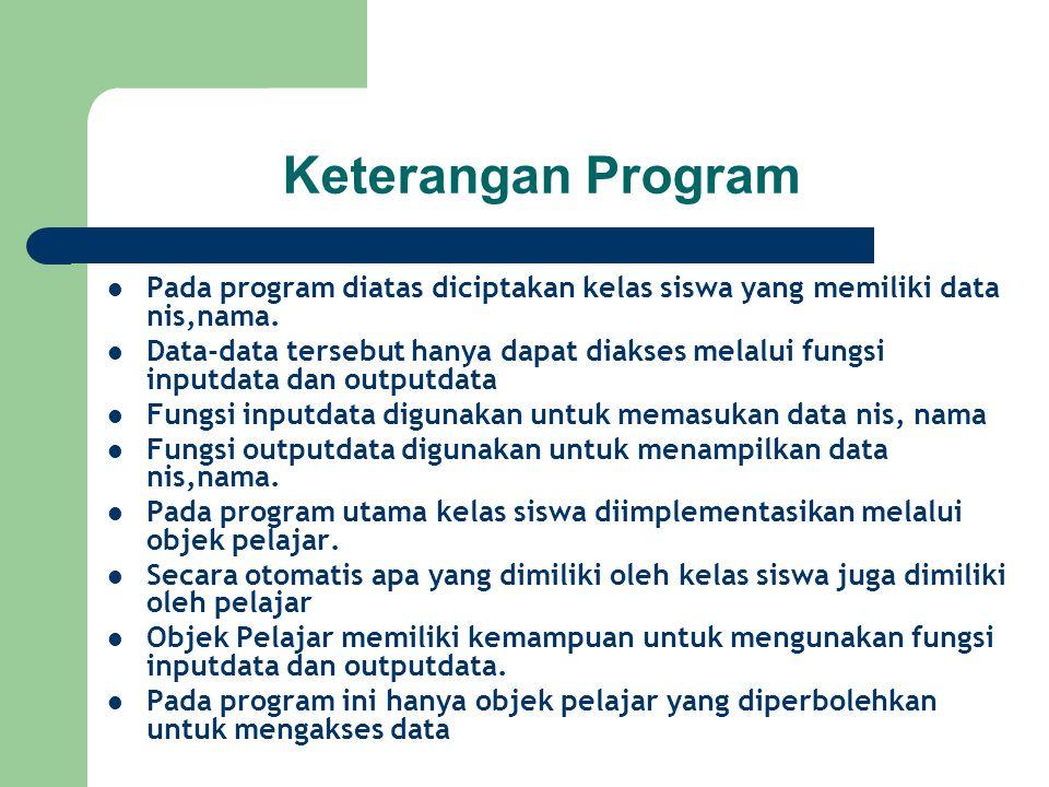 Keterangan Program Pada program diatas diciptakan kelas siswa yang memiliki data nis,nama. Data-data tersebut hanya dapat diakses melalui fungsi input