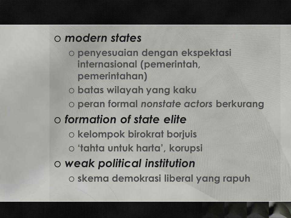 o modern states o penyesuaian dengan ekspektasi internasional (pemerintah, pemerintahan) o batas wilayah yang kaku o peran formal nonstate actors berk
