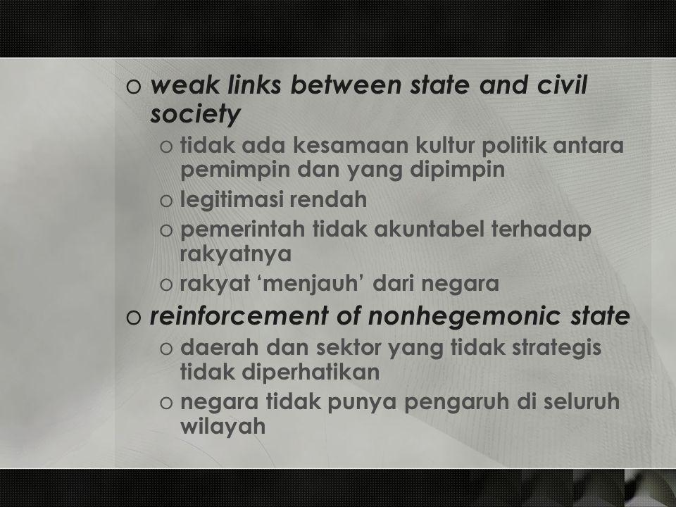 o weak links between state and civil society o tidak ada kesamaan kultur politik antara pemimpin dan yang dipimpin o legitimasi rendah o pemerintah ti