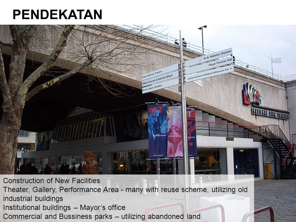 Construction of New Facilities Theater, Gallery, Performance Area - many with reuse scheme, utilizing old industrial buildings Institutional buildings – Mayor's office Commercial and Bussiness parks – utilizing abandoned land PENDEKATAN