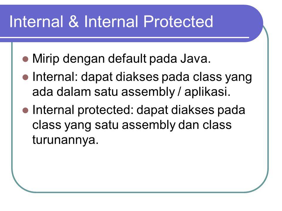 Internal & Internal Protected Mirip dengan default pada Java.
