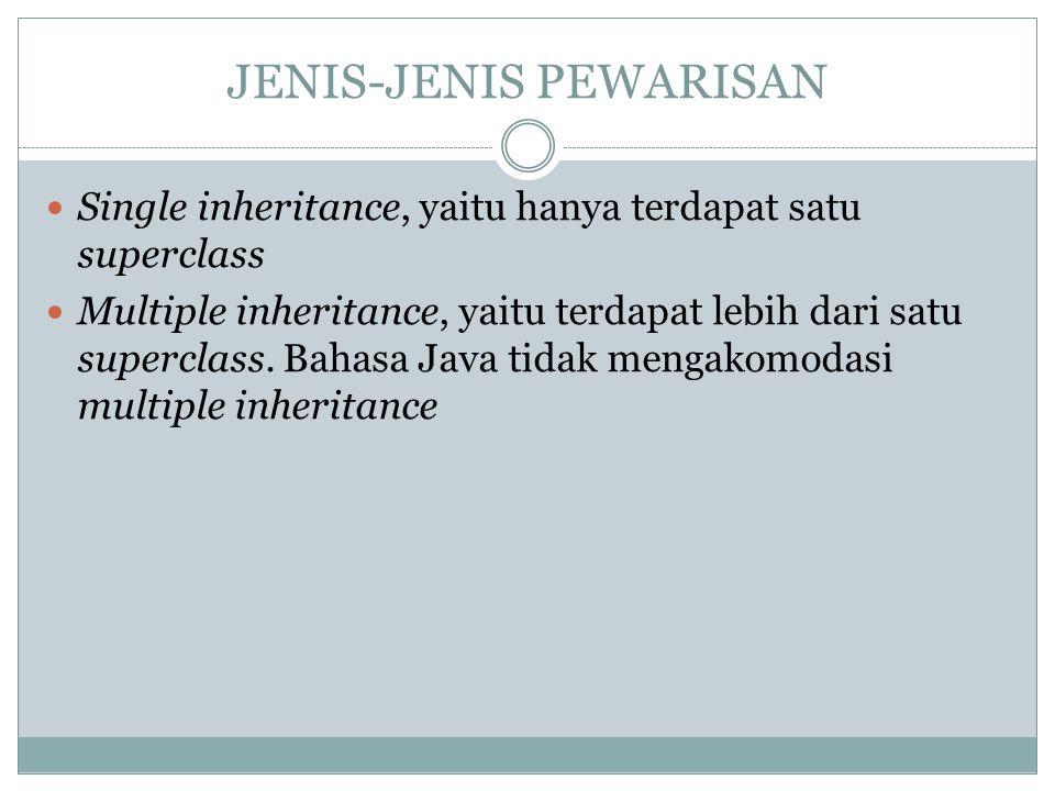 JENIS-JENIS PEWARISAN Single inheritance, yaitu hanya terdapat satu superclass Multiple inheritance, yaitu terdapat lebih dari satu superclass. Bahasa