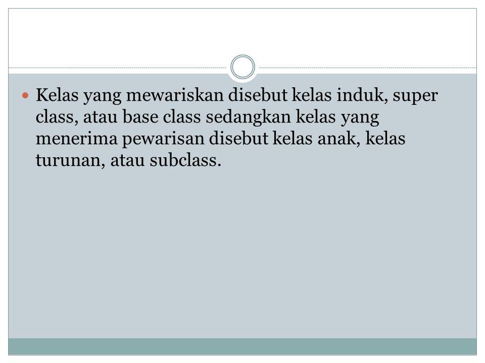 Kelas yang mewariskan disebut kelas induk, super class, atau base class sedangkan kelas yang menerima pewarisan disebut kelas anak, kelas turunan, ata