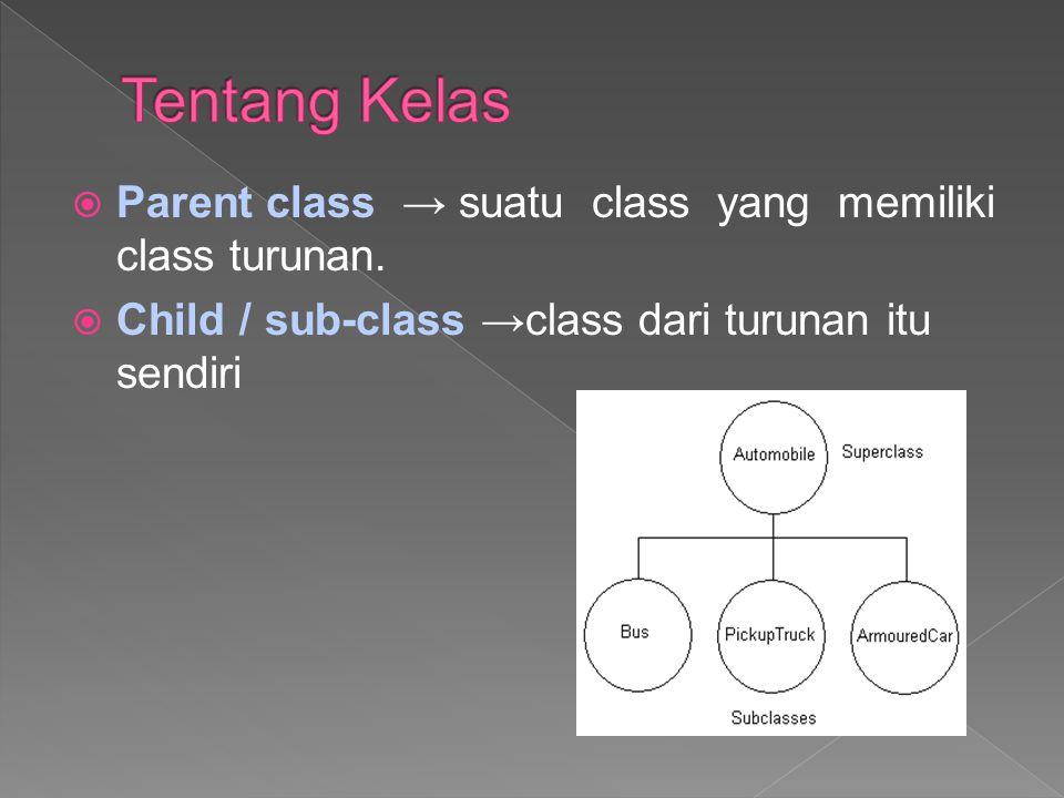 Superclass dan subclass Suatu subclass dapat mewarisi semua atau sebagian member yang dimiliki oleh parent class →hanya memperluas (dgn extend) parent class-nya.