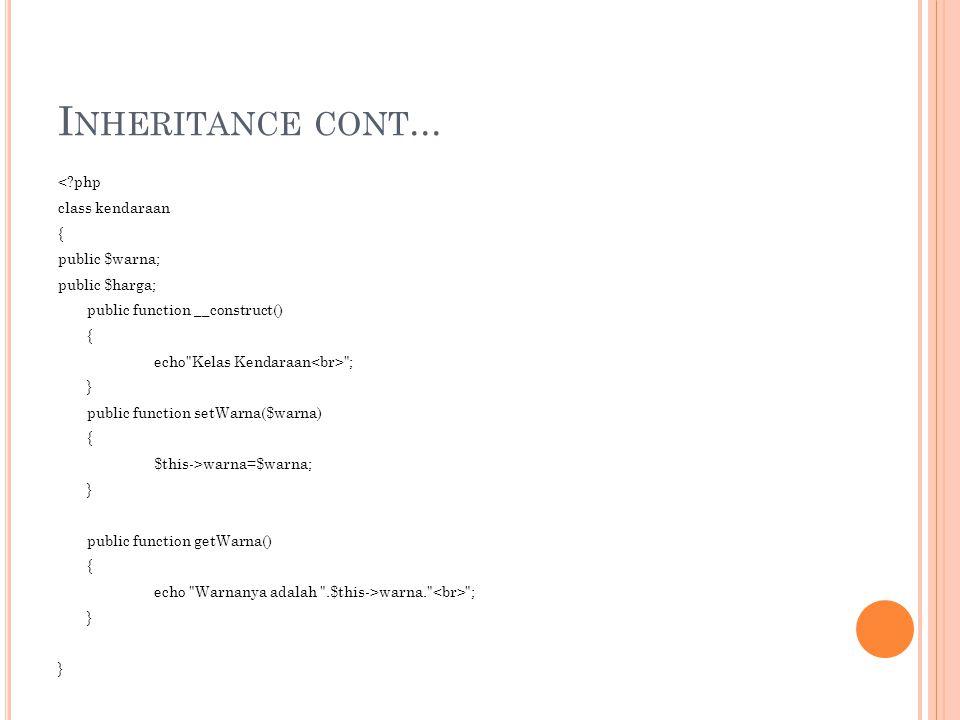 I NHERITANCE CONT... <?php class kendaraan { public $warna; public $harga; public function __construct() { echo