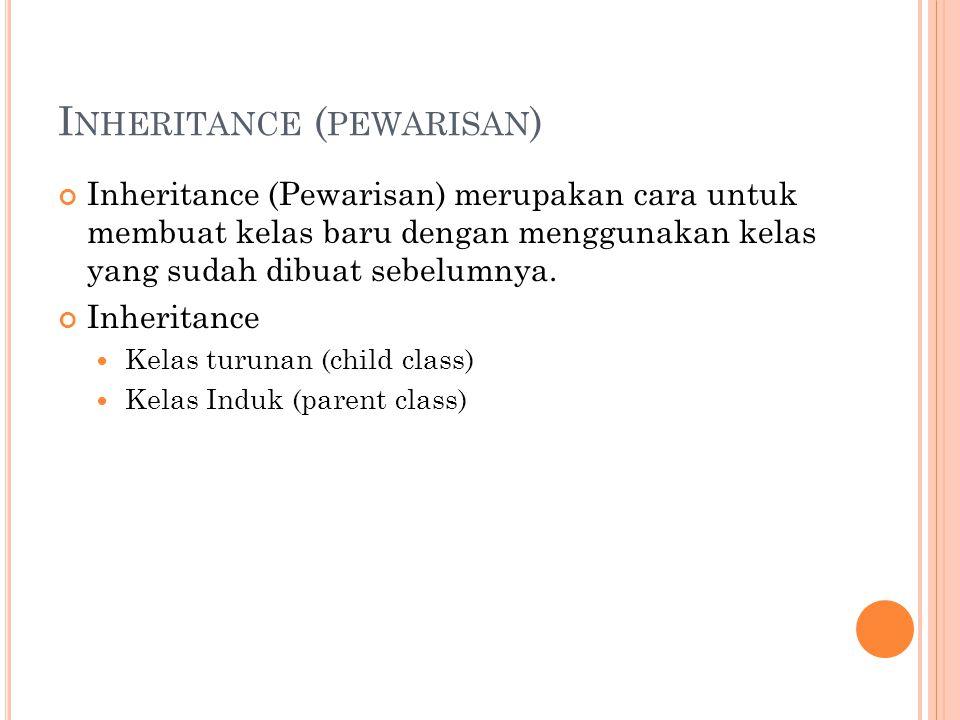 I NHERITANCE ( PEWARISAN ) Inheritance (Pewarisan) merupakan cara untuk membuat kelas baru dengan menggunakan kelas yang sudah dibuat sebelumnya. Inhe