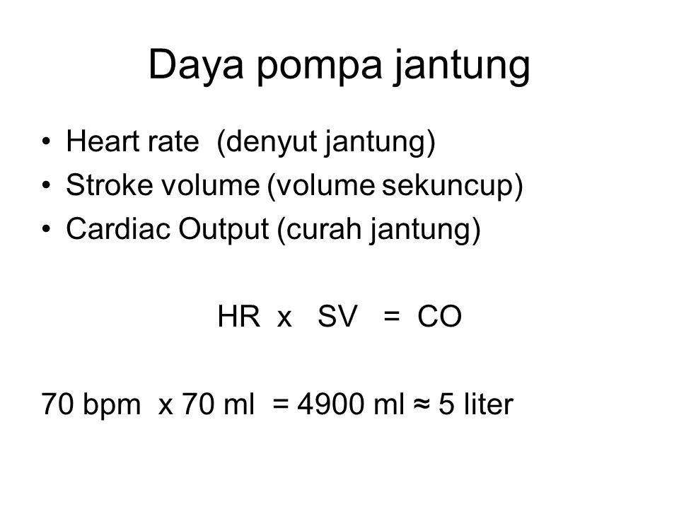 Daya pompa jantung Heart rate (denyut jantung) Stroke volume (volume sekuncup) Cardiac Output (curah jantung) HR x SV = CO 70 bpm x 70 ml = 4900 ml ≈