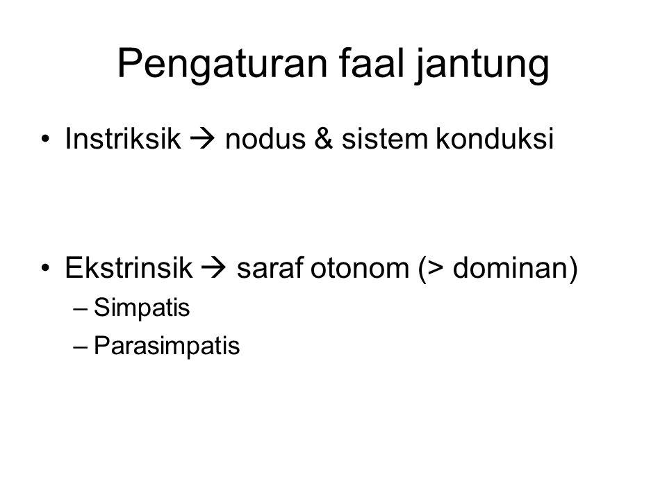 Pengaturan faal jantung Instriksik  nodus & sistem konduksi Ekstrinsik  saraf otonom (> dominan) –Simpatis –Parasimpatis