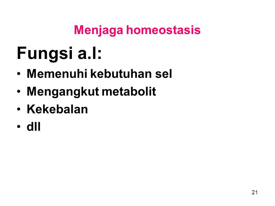 21 Menjaga homeostasis Fungsi a.l: Memenuhi kebutuhan sel Mengangkut metabolit Kekebalan dll