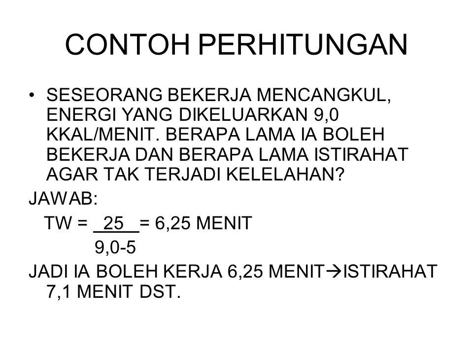 CONTOH PERHITUNGAN SESEORANG BEKERJA MENCANGKUL, ENERGI YANG DIKELUARKAN 9,0 KKAL/MENIT.